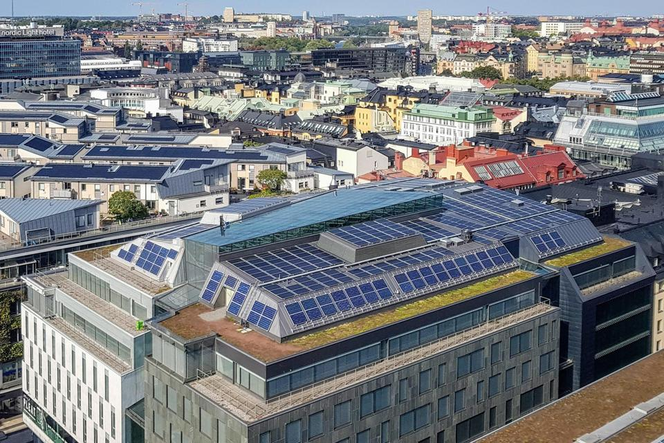 Climate positive: Solar panels at H&M's Head Office, Stockholm