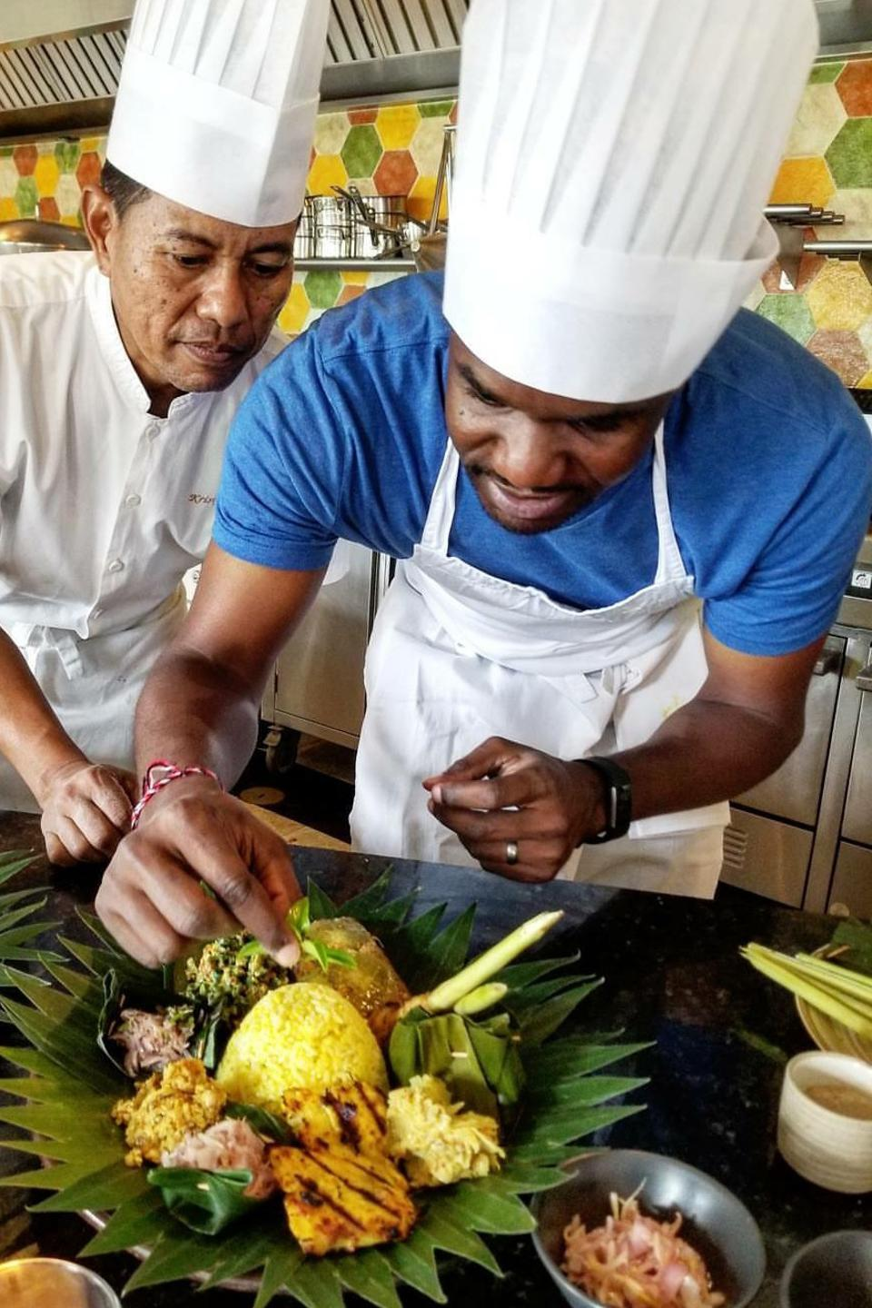 DeMarco Williams at a cooking class in Bali