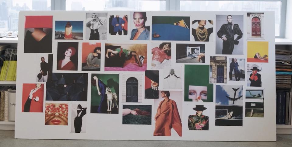 A mood board with several images in blue, green, yellow, and red