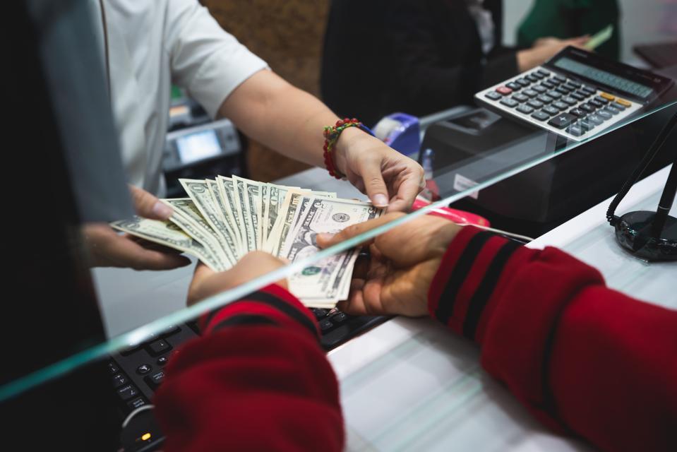 Cash department window currency exchange