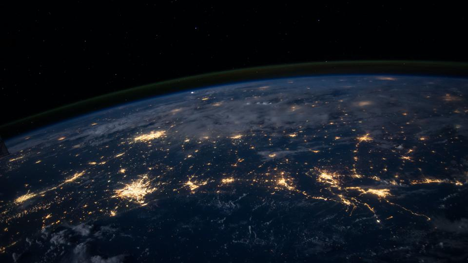 View of city lights from space