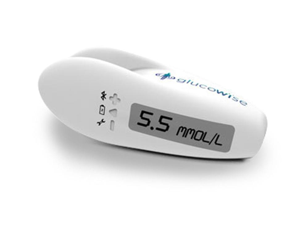 A rendering of the GlucoWise glucose monitor.