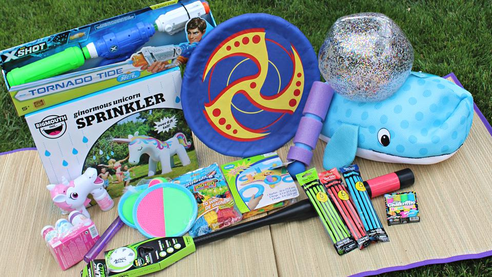 A ″summer Camp in a Box″ bundle from Party City, with various out door toys.