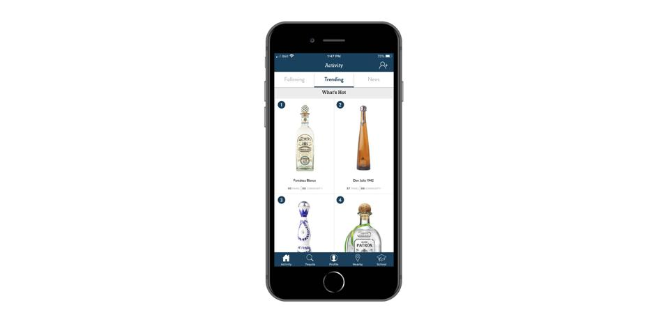 The app interface for Tequila Matchmaker