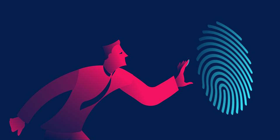 Graphic with fuschia man in tie reaching for large light blue fingerprint on dark blue background