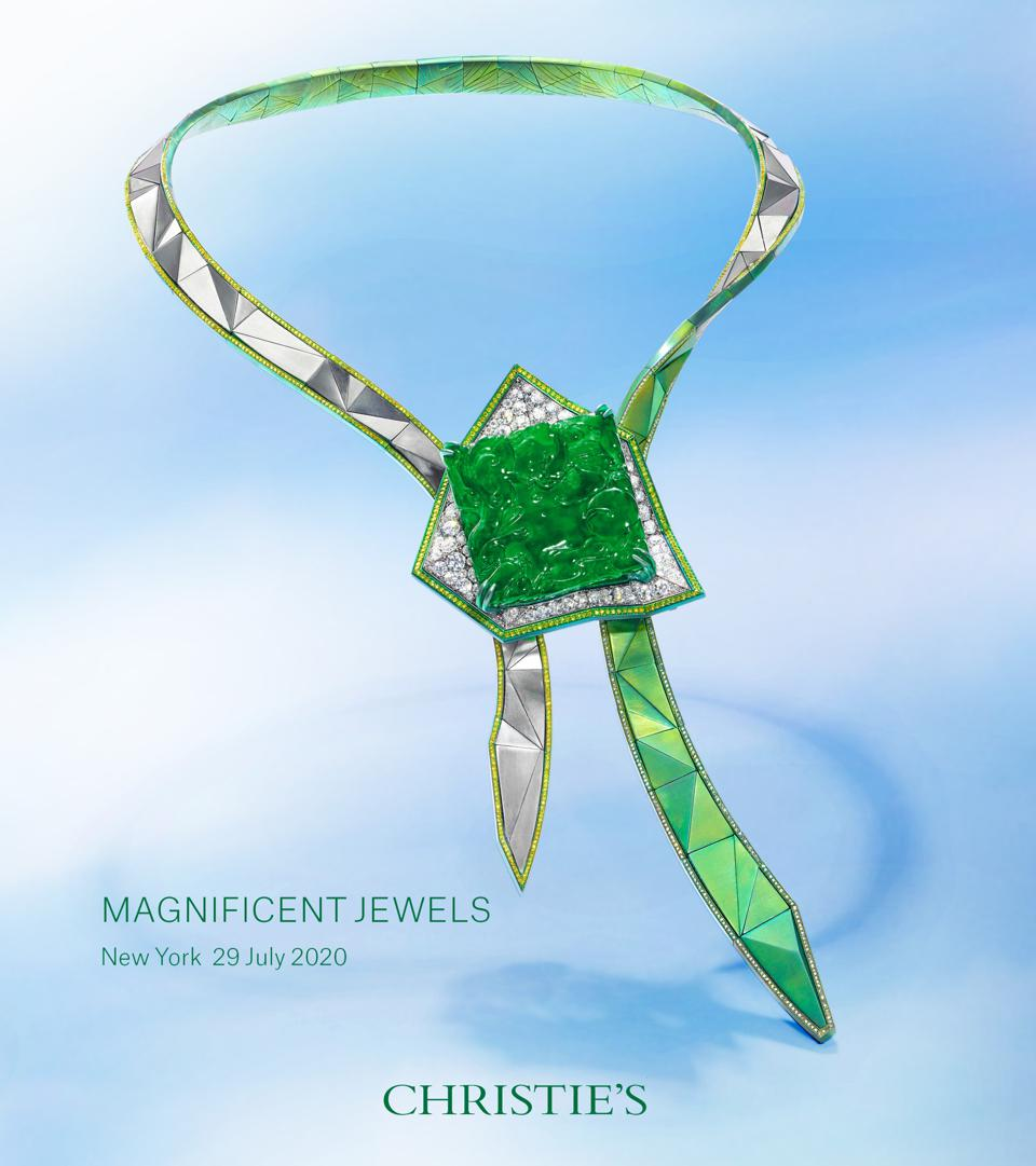 """Anna Hu's """"Sky Tower"""" necklace as it appears Christie's New York Magnificent Jewels catalog cover"""