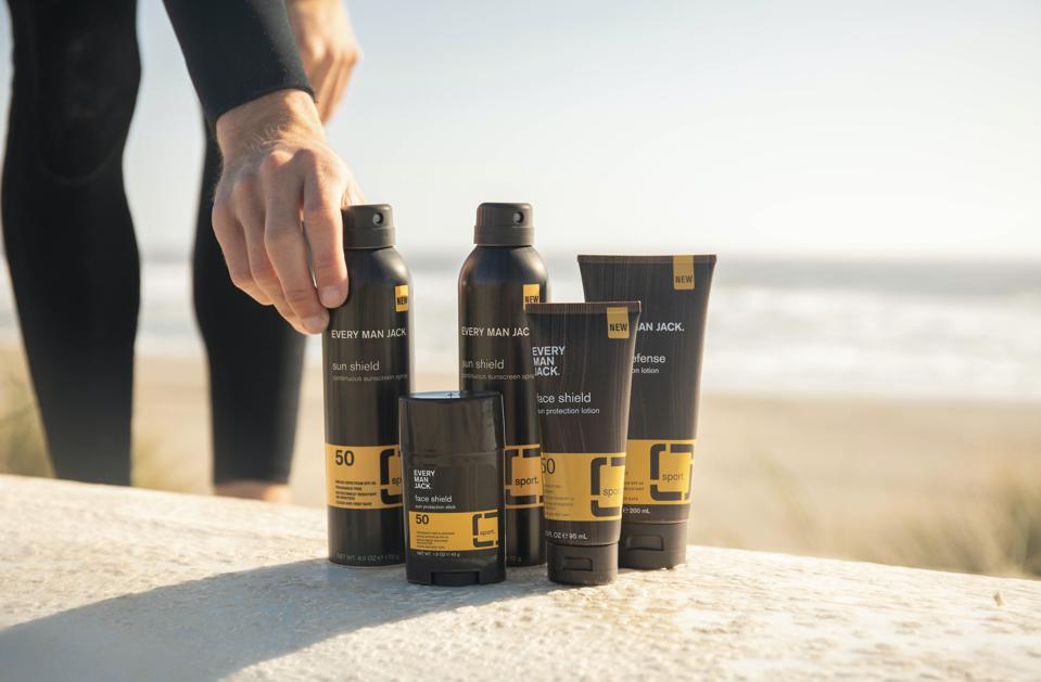 """""""Every Man Jack's new sun care line, out now! Available in sprays, lotions and sticks.″"""
