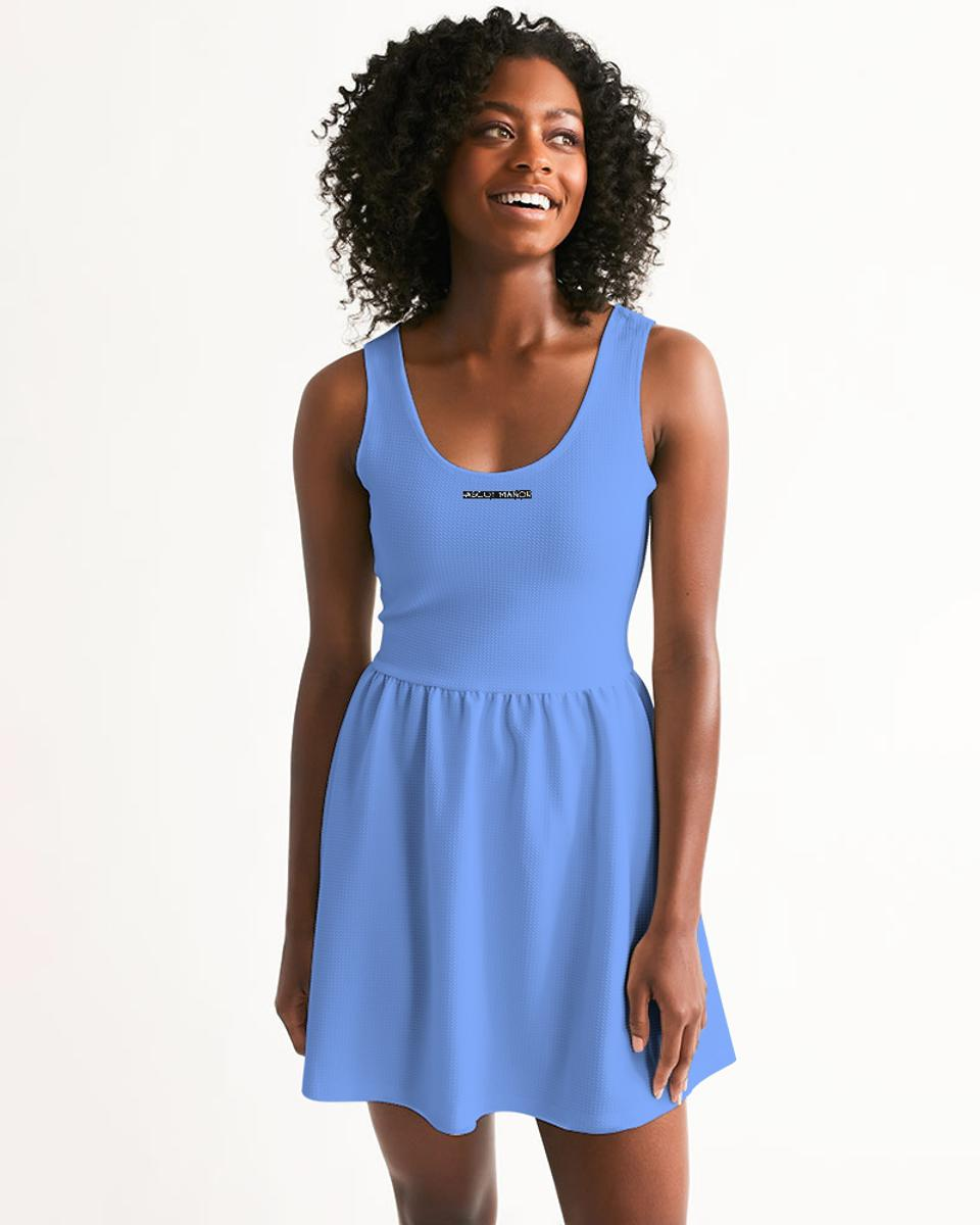 Ascot Manor  Women's New Horizon Baby Blue Classic Scoop Tennis Dress, made up of breathable, moisture-wicking athletic fabric and a flared skirt.