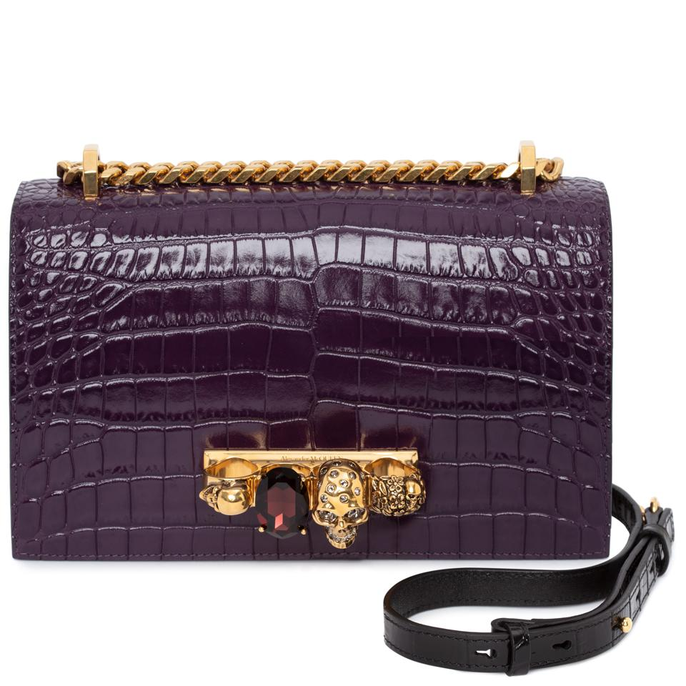 Shiny purple embossed croc calfskin leather Jeweled Satchel.