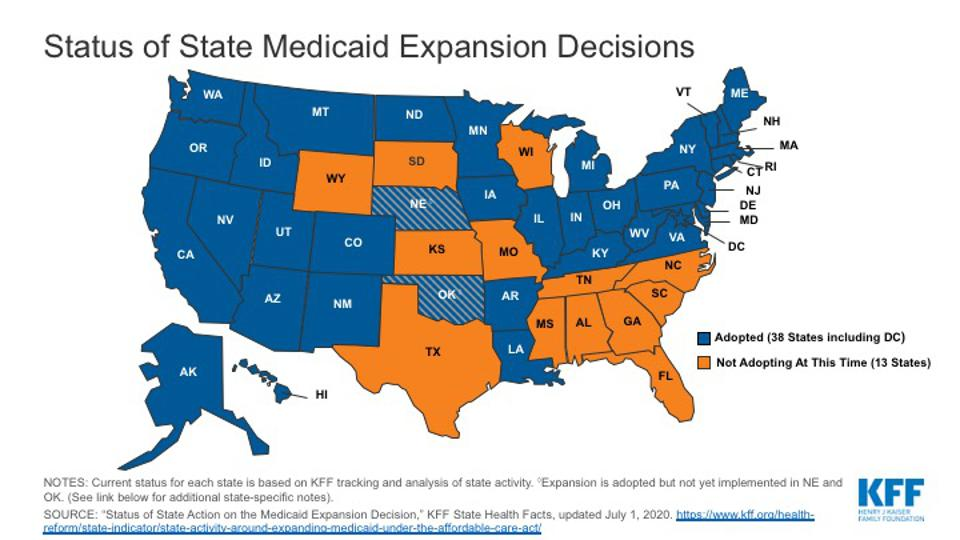 Map of States that Expanded Medicaid
