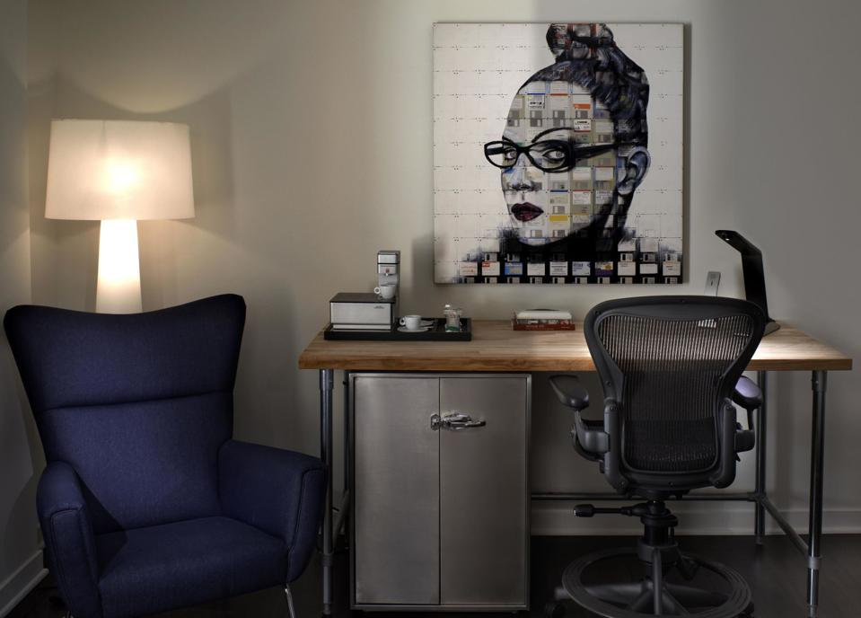 A contemporary desk and artwork at San Francisco's Hotel Zetta
