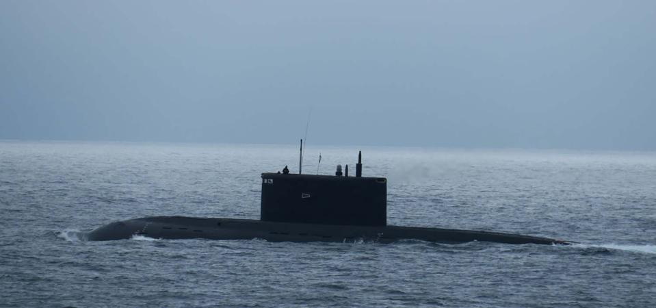 Russian Navy Kilo Class submarine Krasnodar (B-265) in the English Channel