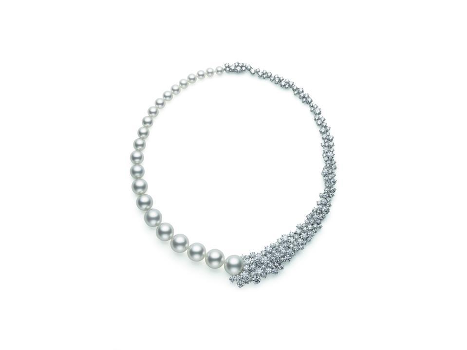 Mikimoto's Prestige Akoya & White South Sea Cultured Pearl and Diamond Necklace