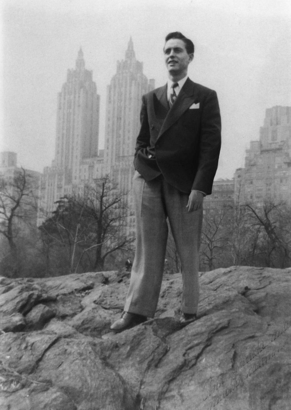 A black and white image of the young Jean Leon in New York City in the 1950s.