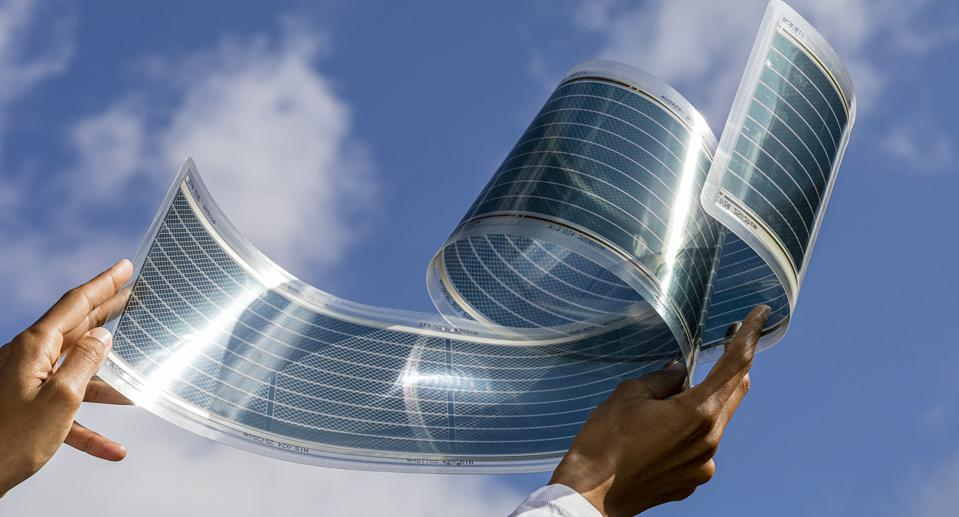 The thin-film solar cell technology, called ASCA, weighs only about 450g per square meter