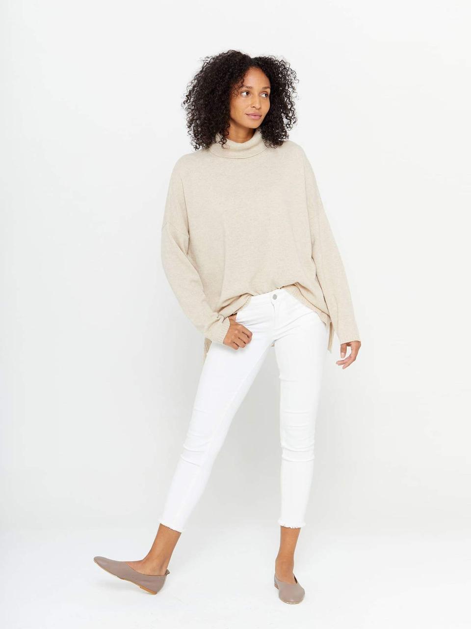 Tunic Turtleneck Cashmere Sweater