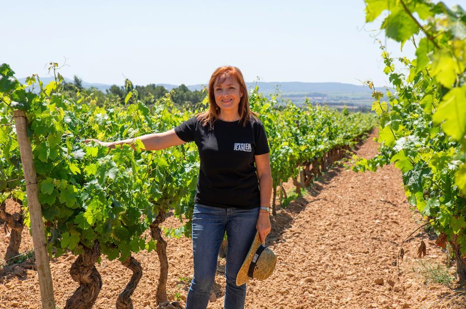 Mireia Torres, Director, Jean Leon, in the vineyard in Penedès.