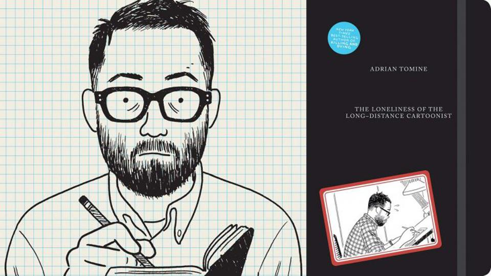Self Portrait of Adrian Tomine and cover to The Loneliness of the Long Distance Cartoonist