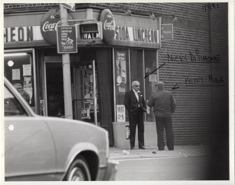 FBI surveillance photo of Niccky Di Simone and Petey Mush, January 7, 1981