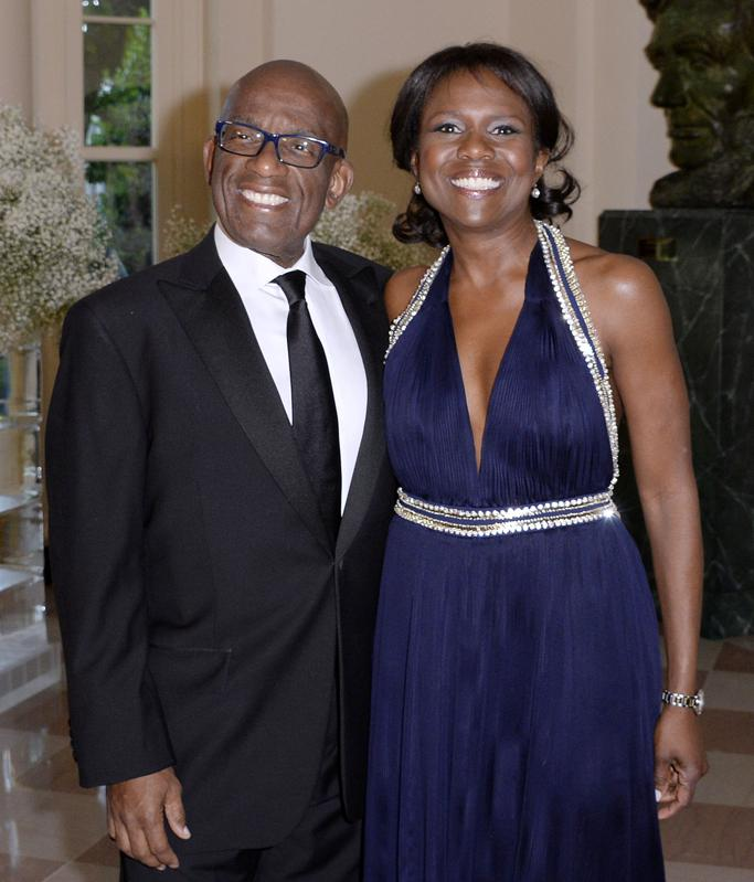 Al Roker with his wife, Deborah Roberts, at a White House dinner in May 2016.