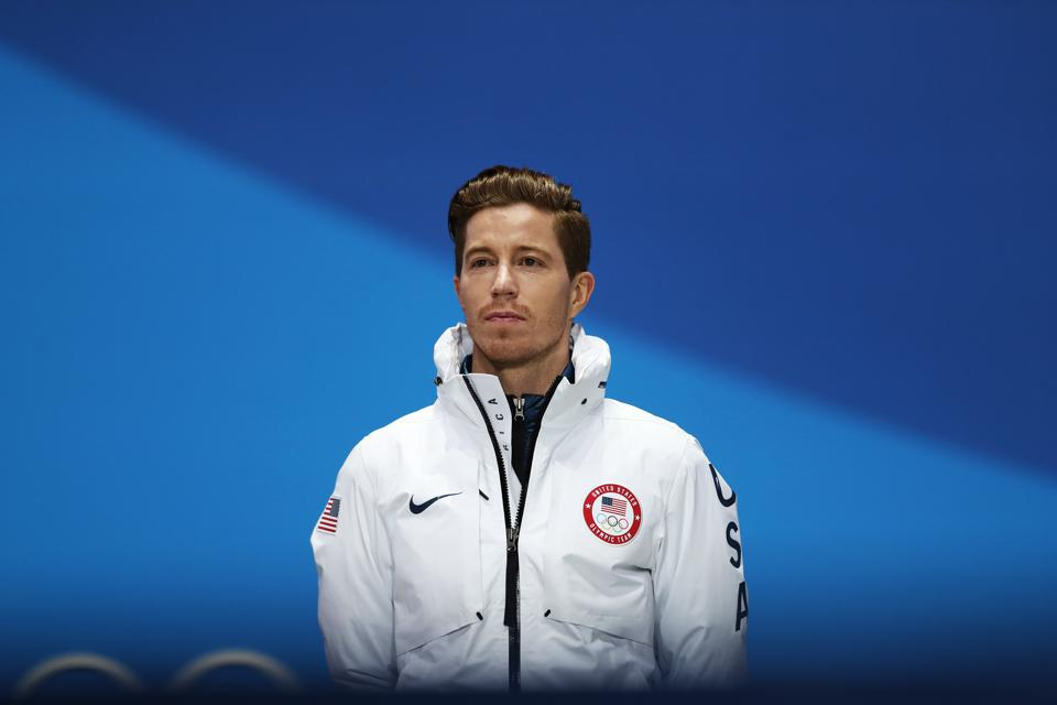 Shaun White at Pyeongchang 2018 Winter Olympics medal ceremony, where he won gold