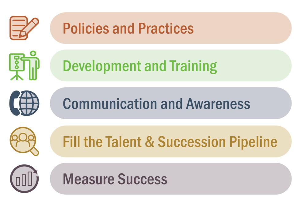 The five pillars include Policies and practices, Development and training, Fill the talent and succession pipeline, Communication and awareness, and Measure success.