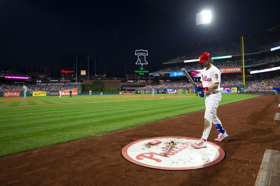 Bryce Harper in the on-deck circle at a Phillies game in August.