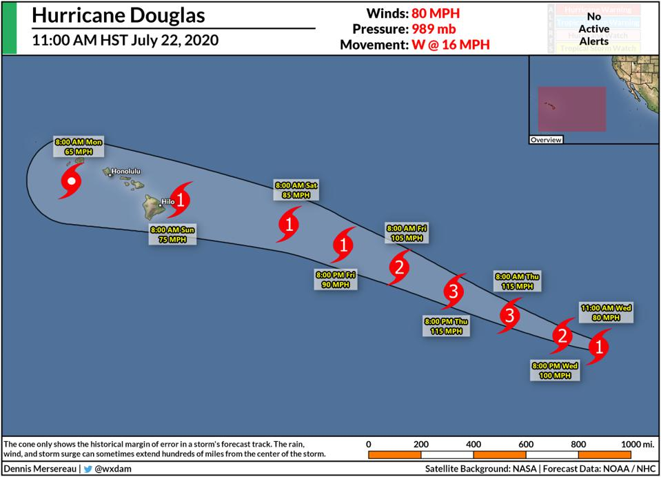 The NHC's forecast for Hurricane Douglas the morning of July 22, 2020.