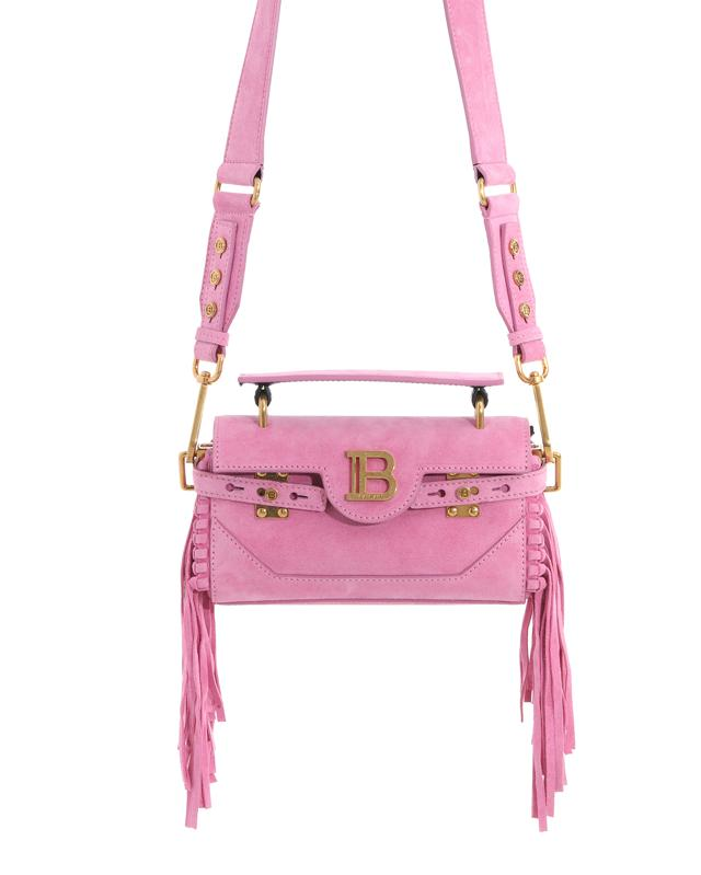 Balmain Pink suede B-Buzz 19 baguette bag with fringe