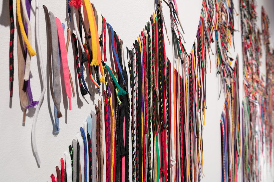 Nari Ward, ″We the People,″ 2011. Shoelaces. Courtesy of MCA Denver.