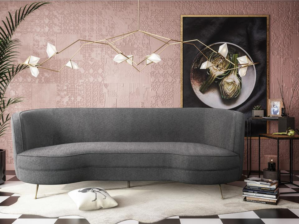 A TOV furniture gray tweed sofa.