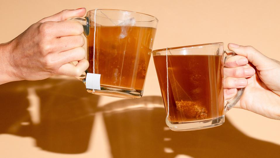 golden ratio gold coffee in glass cups