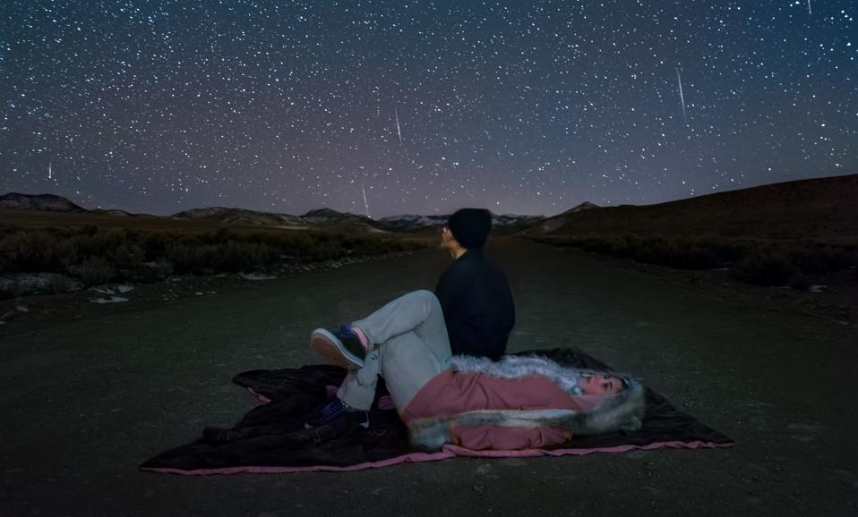 Teenagers watching the Geminid meteor shower.