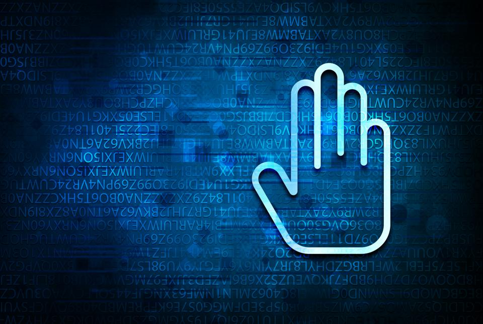 Stop hand icon on abstract blue background