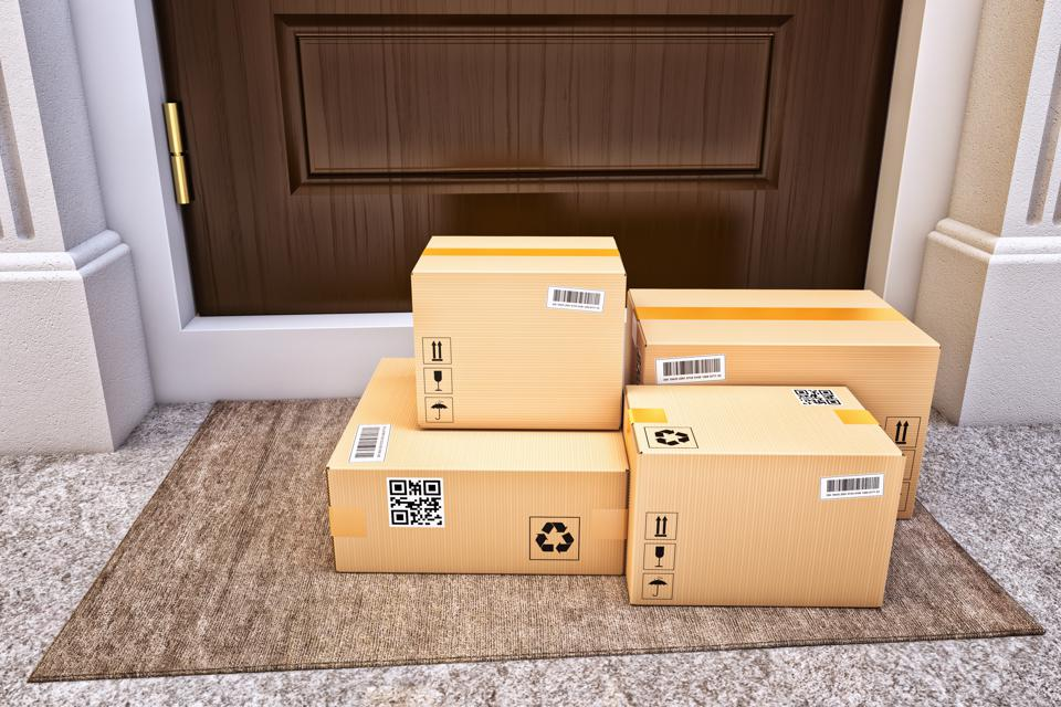 Internet shopping, online purchases, e-commerce and express package door-to-door delivery service concept