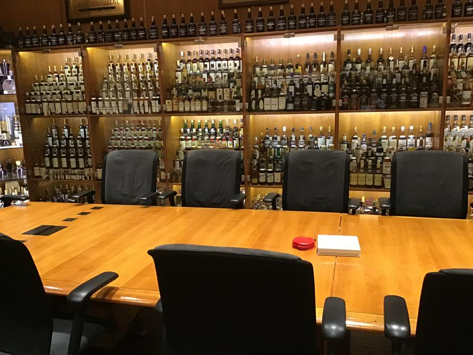 A Portion of Singh's Scotch Whisky Collection at TWE's London Office