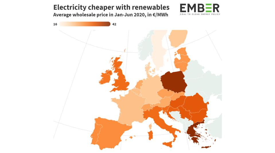 A map chart showing the relative costs of electricity in EU countries.