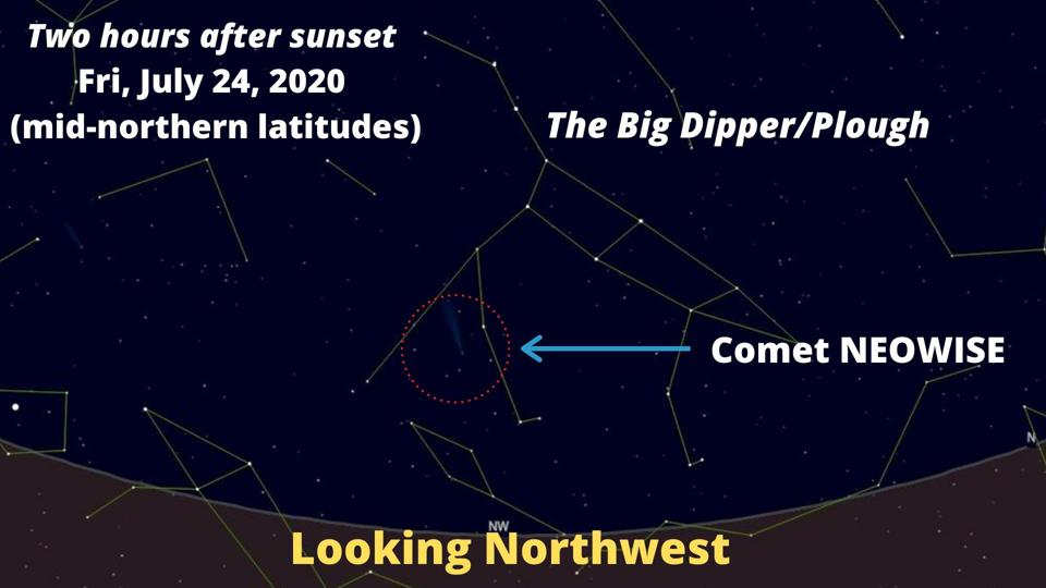 How to find Comet NEOWISE on Friday, July 24, 2020.