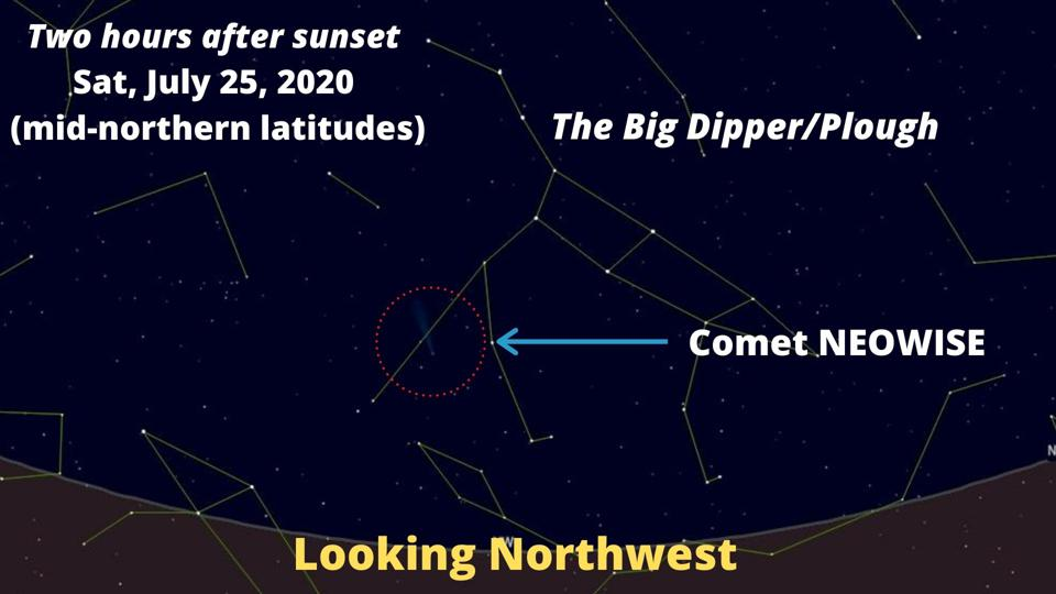 How to find Comet NEOWISE on Saturday, July 25, 2020.