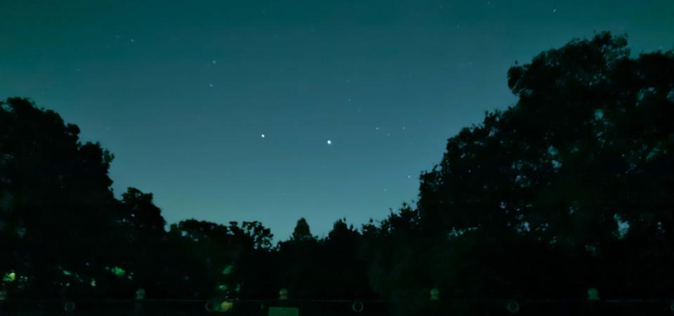 Saturn, on the left, and Jupiter, on the right, in the south right after dark on July 20, 2020.