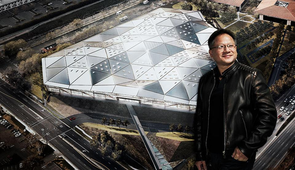 NVIDIA CEO Jensen Huang In Front Of The Company's Endeavor HQ Building