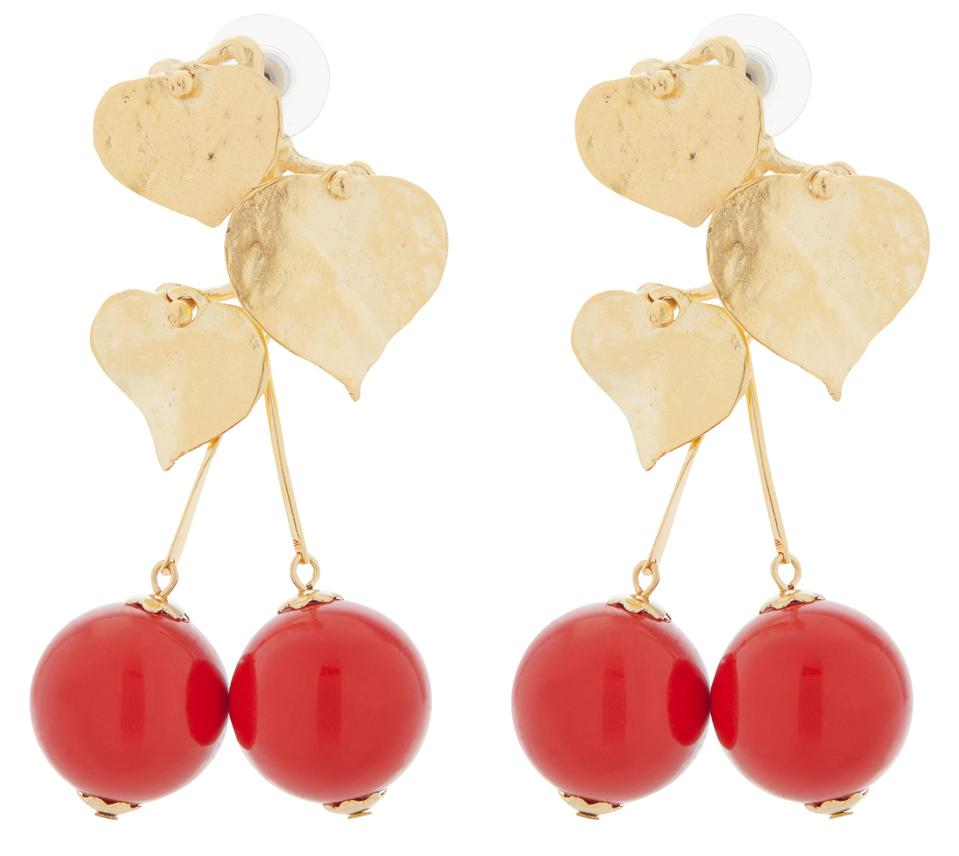Gold-Plated Cherry Drop Earrings by Kenneth Jay Lane: