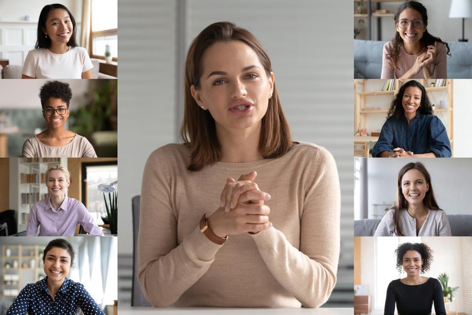 Nine diverse professional women having a meeting via video.