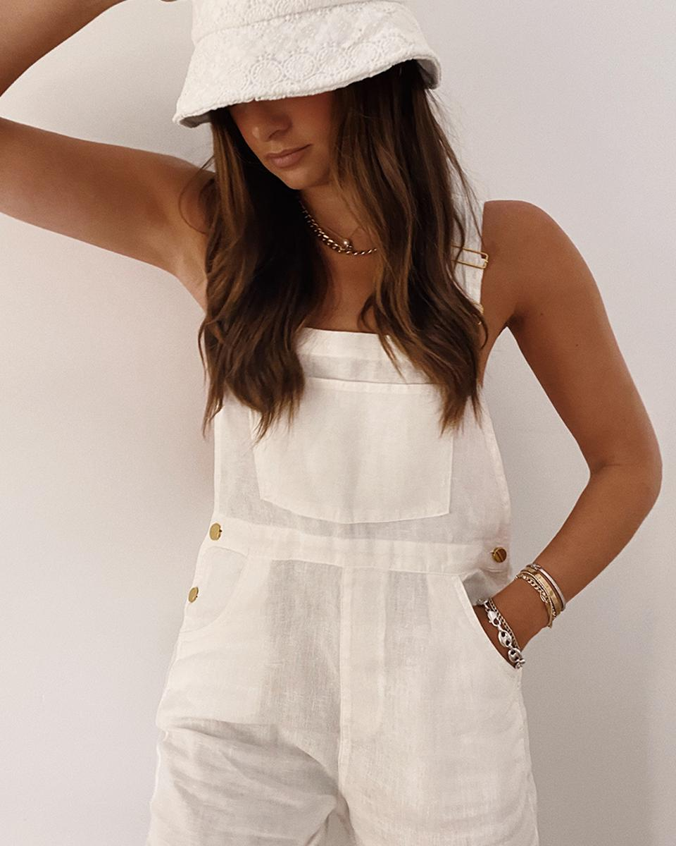 Shop Basic Linen Overalls in shade White from the Linen Overalls Restock.