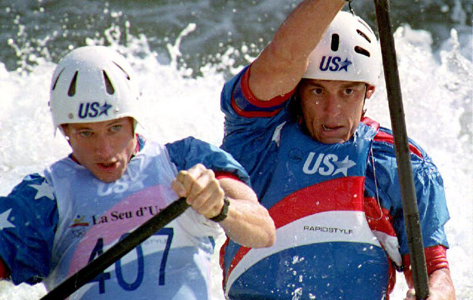 Scott Strausbaugh (L) and Joe Jacobi (R) won the gold medal in the Olympic whitewater doubles canoeing event at the 1992 Summer Olympics in Barcelona.