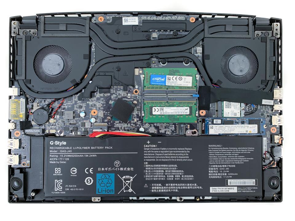 Gigabyte's Aero 15 OLED uses an Intel Optane Memory H10 SSD
