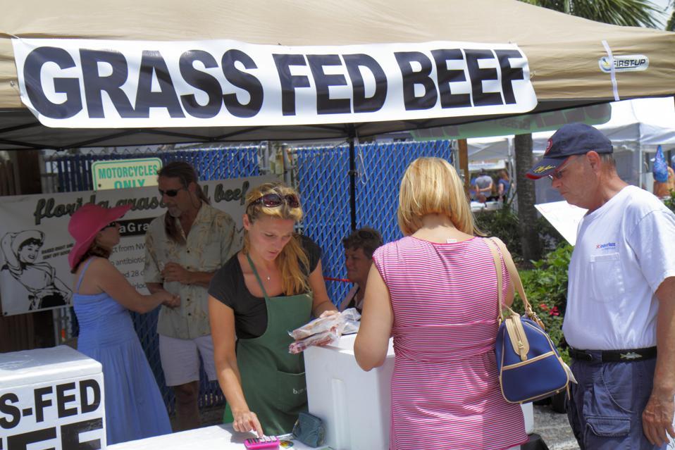 A grass fed organic beef vendor at Green Market.