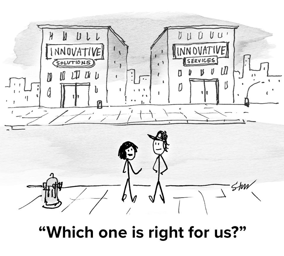 two buildings with the same names and two people outside asking ″which one is right for us?″