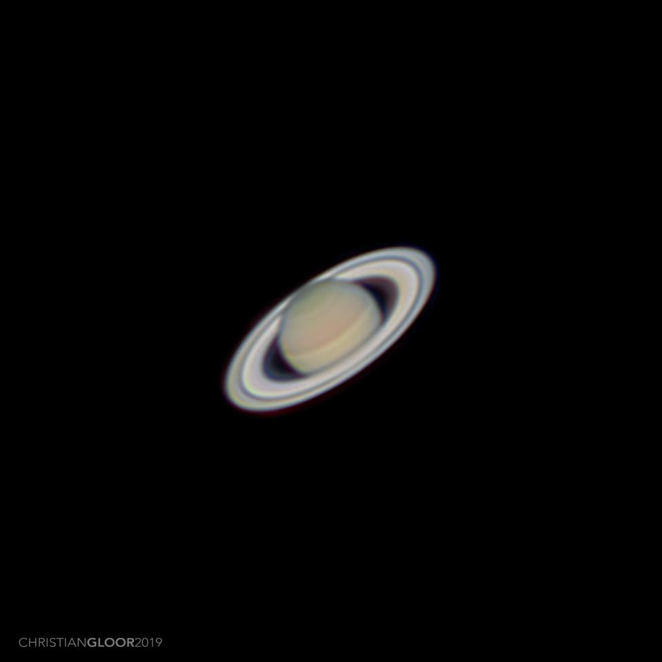 Saturn at opposition in July of 2019, as imaged by amateur astronomer Christian Gloor.