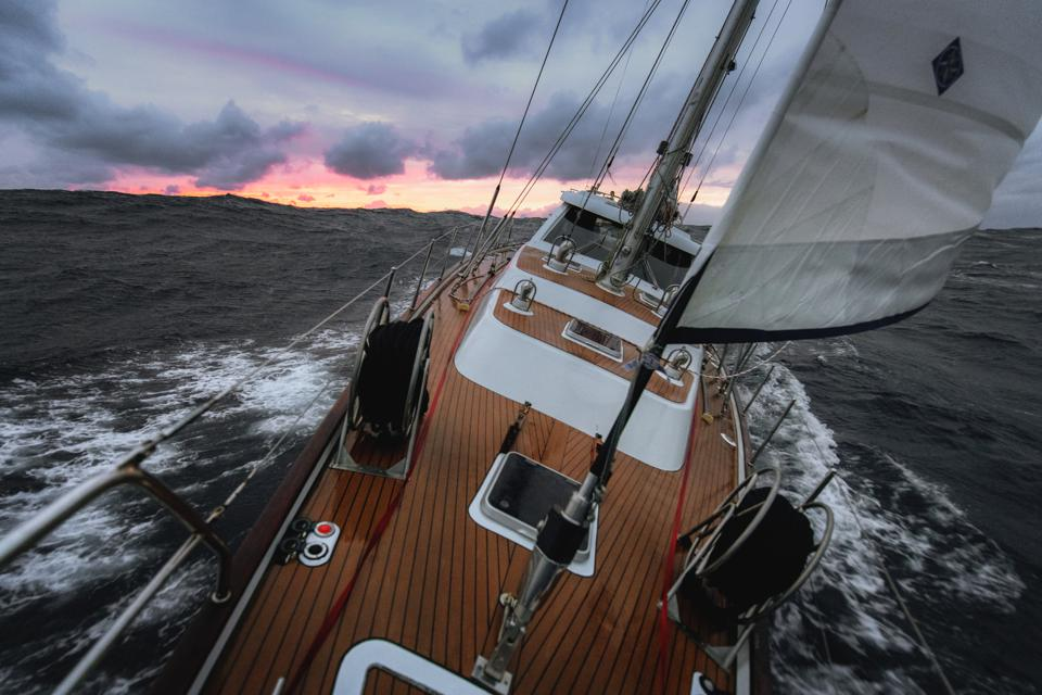 Sailing at the stormy sea in North Atlantic